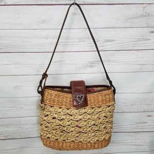 BrightonSadie Basket Bucket Handbag Purse Brown L